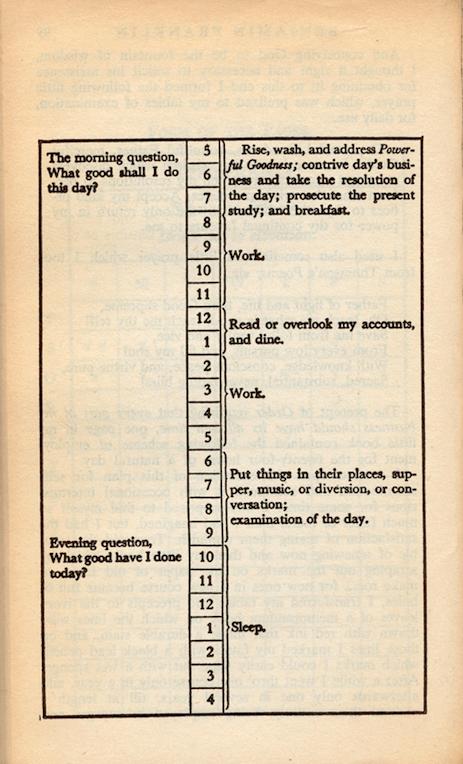 Benjamin franklin plan for weekdays