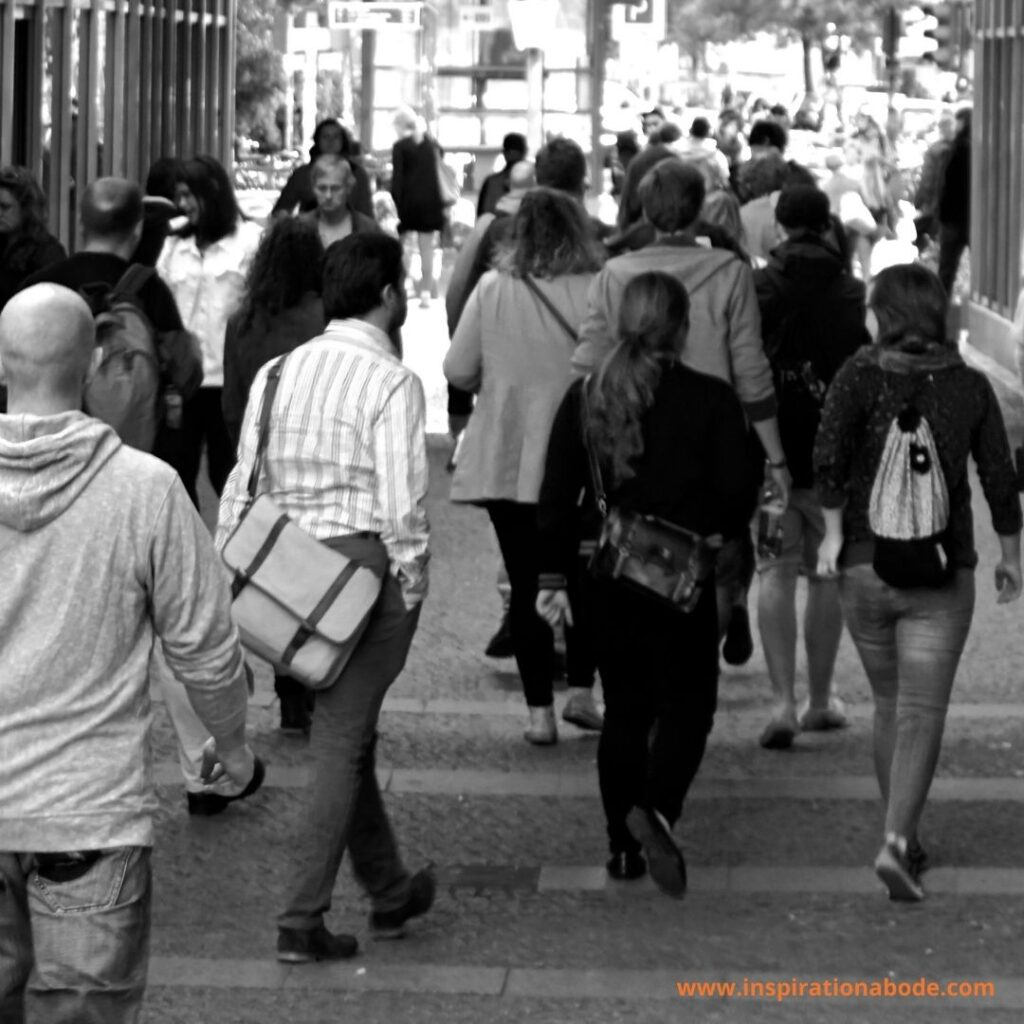 Spending time in a crowded place for at least 10–15 minutes